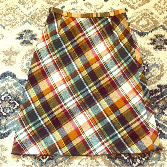 Leslie Fay Dresses & Skirts - Vintage colorful plaid wool midi skirt
